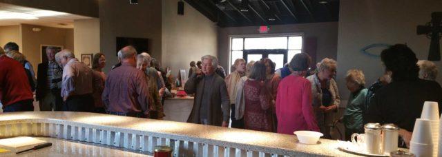 Church members at a social event
